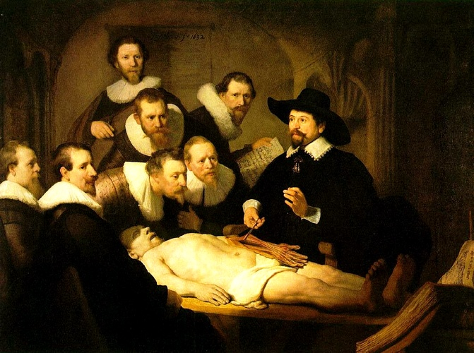 The Anatomy Lecture of Dr. Nicolaes Tulp [1632], Oil by Rembrandt Van Rijn (1606-1669, Netherlands)