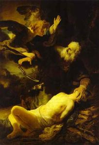 Rembrandt Van Rijn - The Angel Stopping Abraham from Sacrificing Isaac to God