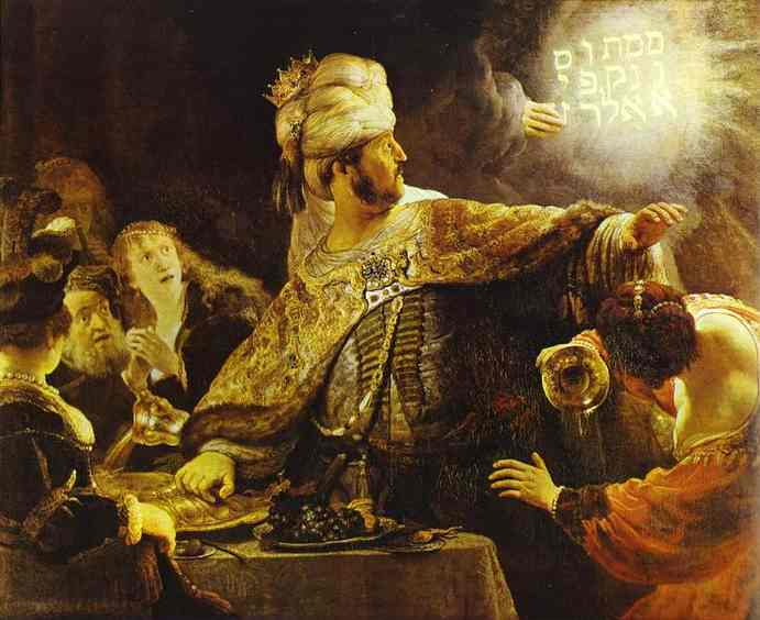The Feast of Belshazzar, Oil by Rembrandt Van Rijn (1606-1669, Netherlands)
