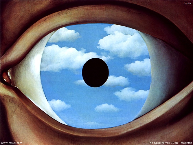 False Mirror, Oil by Rene Magritte (1898-1967, Belgium)
