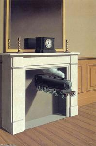 Rene Magritte - Time transfixed - (paintings reproductions)