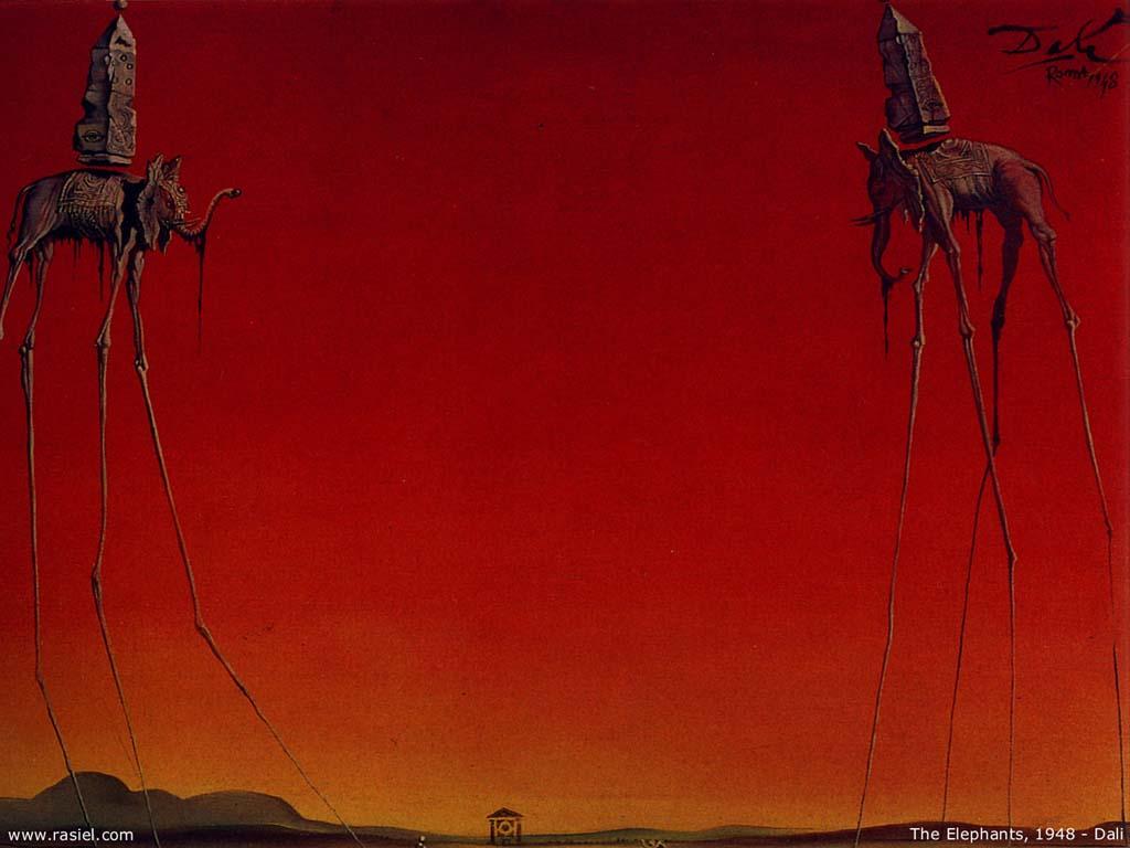 The Elephants, Oil by Salvador Dali (1938-3183, Spain)
