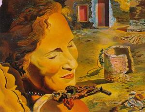 Salvador Dali - Portrait of Gala with Two Lamb Chops Balanced on Her Shoulder, 1933