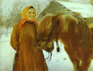 Valentin Alexandrovich Serov - In a Village. Peasant Woman with a Horse