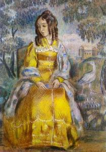Viktor Elpidiforovich Borisov Musatov - Lady Seated, with a Tapestry in the Background