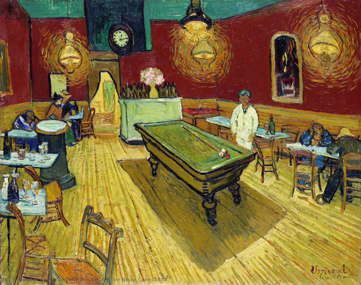 The Night Cafe, 1888 by Vincent Van Gogh (1853-1890, Netherlands) | Museum Art Reproductions Vincent Van Gogh | WahooArt.com