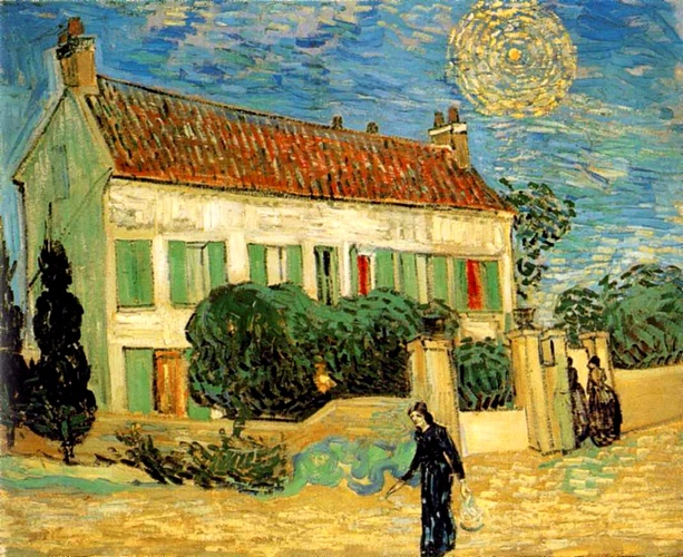 The White House at Night [June 1890], Oil by Vincent Van Gogh (1853-1890, Netherlands)