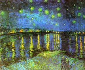 Vincent Van Gogh - Starry Night Over the Rhone - (Famous paintings reproduction)