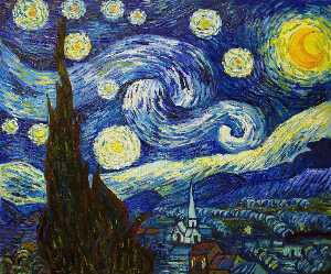 Vincent Van Gogh - Starry Night - (Famous paintings reproduction)