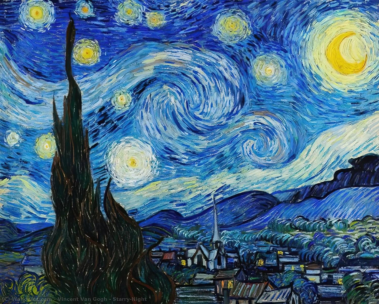 Starry-Night, 1889 by Vincent Van Gogh (1853-1890, Netherlands) | Reproductions Vincent Van Gogh | WahooArt.com