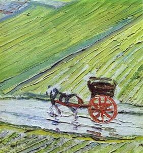 Vincent Van Gogh - A Road in Auvers after the Rain. Detail