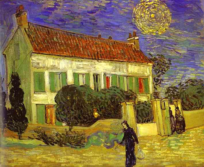 The White House at Night (La maison blanche au nuit), Oil by Vincent Van Gogh (1853-1890, Netherlands)