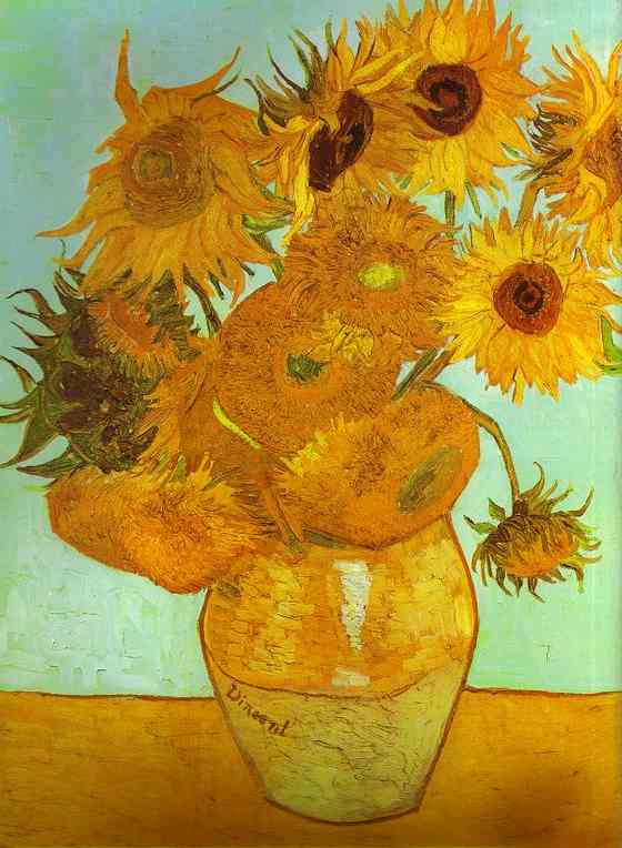 Twelve Sunflowers in a Vase, Oil by Vincent Van Gogh (1853-1890, Netherlands)