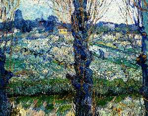View of Arles. Orchard in Bloom with Poplars in the Forefront, Oil by Vincent Van Gogh  (buy Fine Art Framed Print Vincent Van Gogh)