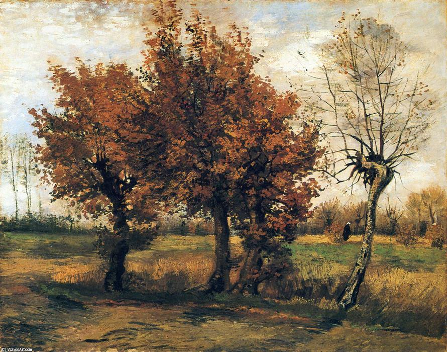 Autumn Landscape with Four Trees, 1885 by Vincent Van Gogh (1853-1890, Netherlands) | WahooArt.com