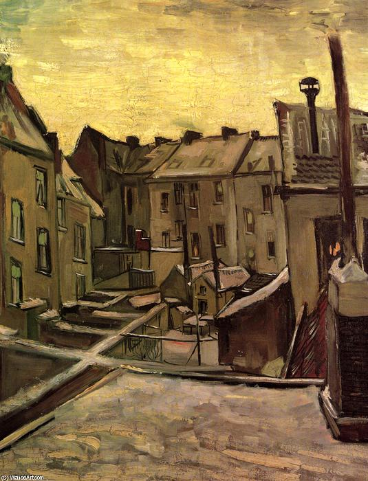 Backyards of Old Houses in Antwerp in the Snow, 1885 by Vincent Van Gogh (1853-1890, Netherlands) | Museum Art Reproductions Vincent Van Gogh | WahooArt.com