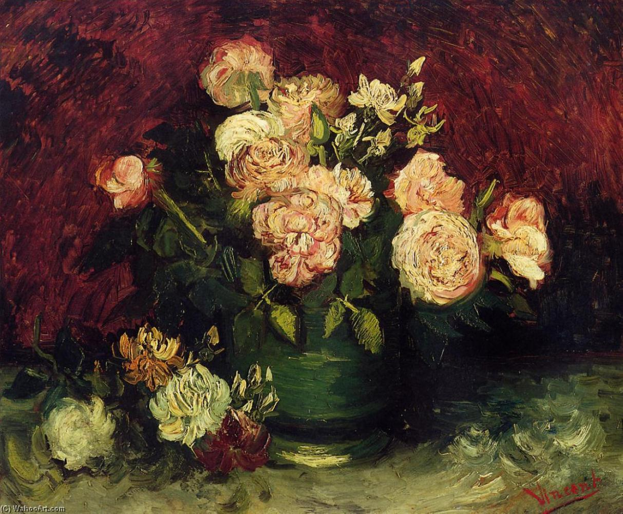 Bowl with Peonies and Roses, Oil On Canvas by Vincent Van Gogh (1853-1890, Netherlands)