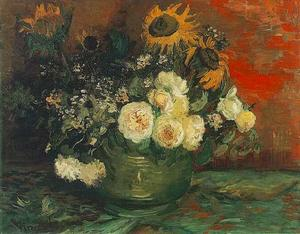 Vincent Van Gogh - Bowl with Sunflowers, Roses and Other Flowers