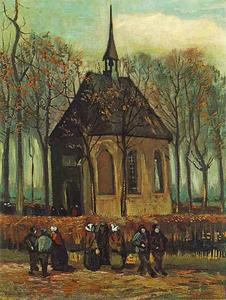 Vincent Van Gogh - Congregation Leaving the Reformed Church in Nuenen