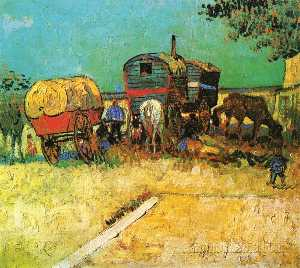 Vincent Van Gogh - Encampment of Gypsies with Caravans