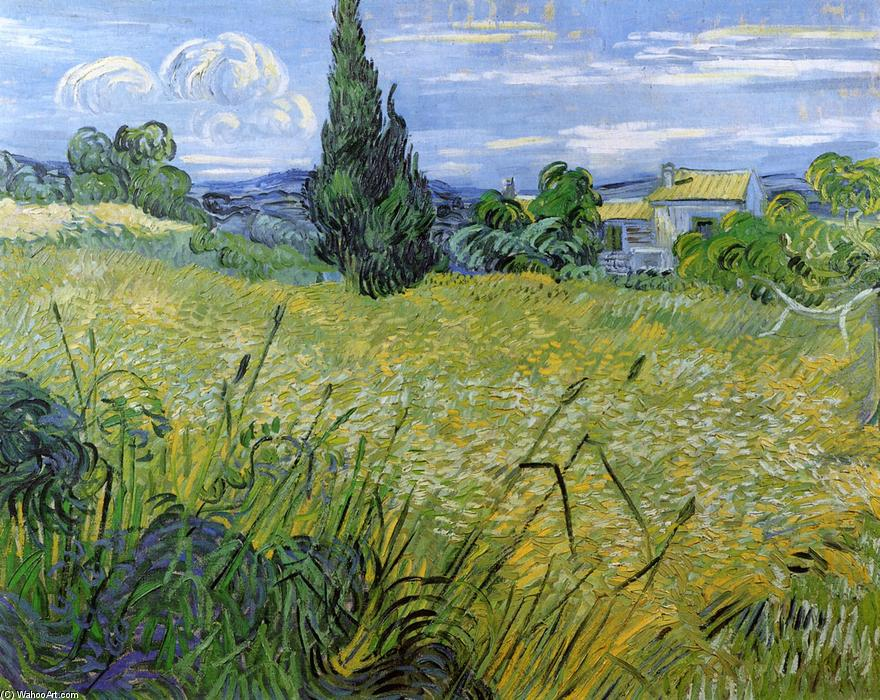 Green Wheat Field with Cypress, Oil On Canvas by Vincent Van Gogh (1853-1890, Netherlands)