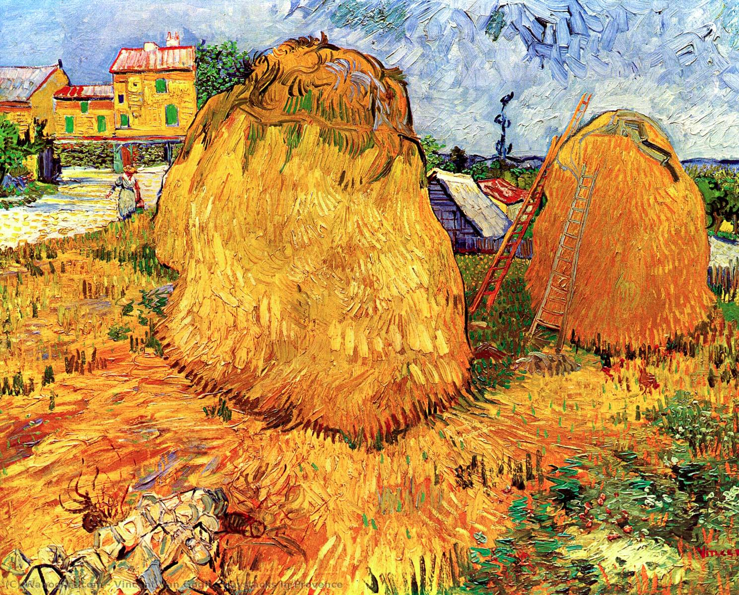 Haystacks in Provence, 1888 by Vincent Van Gogh (1853-1890, Netherlands) | Paintings Reproductions Vincent Van Gogh | WahooArt.com
