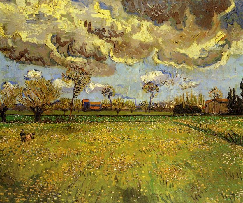 Landscape under a Stormy Sky, Oil On Canvas by Vincent Van Gogh (1853-1890, Netherlands)