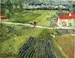 Vincent Van Gogh - Landscape with Carriage and Train in the Background