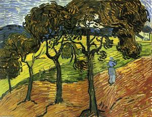 Vincent Van Gogh - Landscape with Trees and Figures