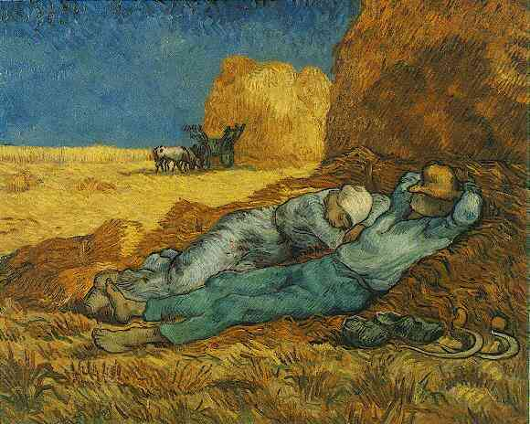 Noon Rest from Work after Millet, Oil by Vincent Van Gogh (1853-1890, Netherlands)