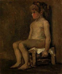 Vincent Van Gogh - Nude Study of a Little Girl, Seated
