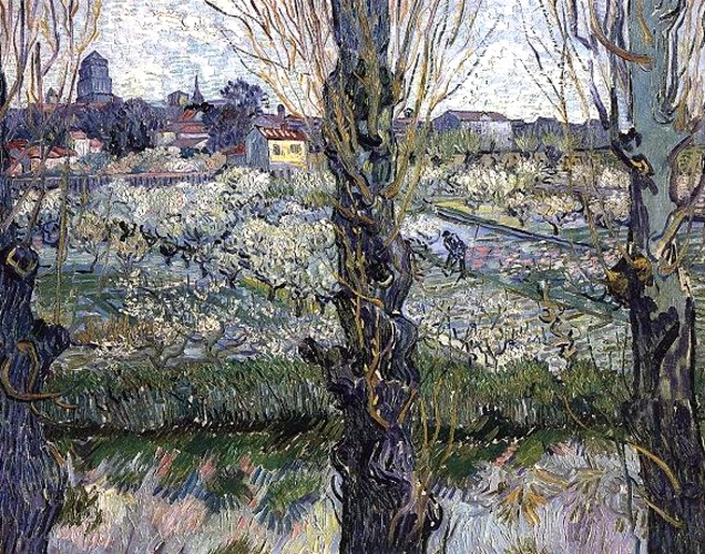Orchard in Blossom with View of Arles, 1889 by Vincent Van Gogh (1853-1890, Netherlands)