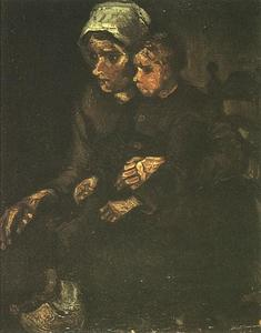 Vincent Van Gogh - Peasant Woman with Child on Her Lap
