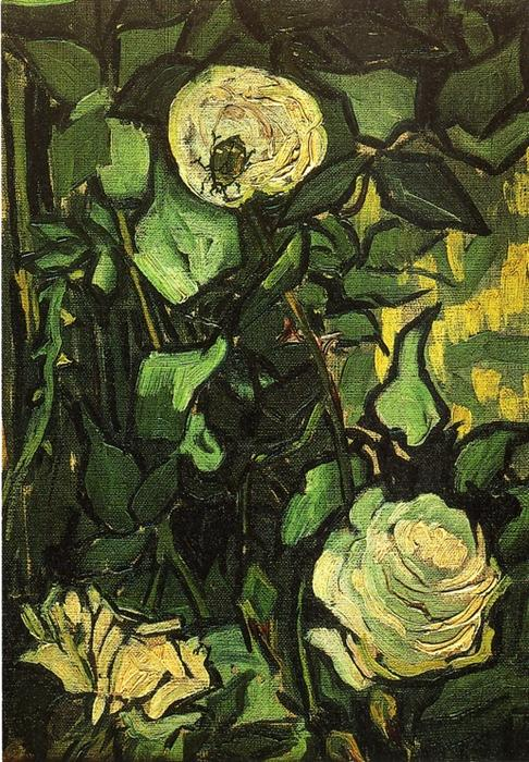 Roses and Beetle, Oil On Canvas by Vincent Van Gogh (1853-1890, Netherlands)