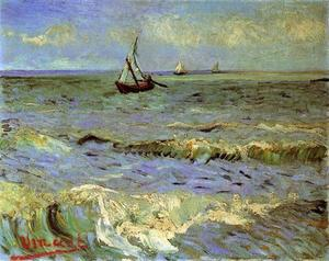 Vincent Van Gogh - Seascape at Saintes-Maries - (paintings reproductions)