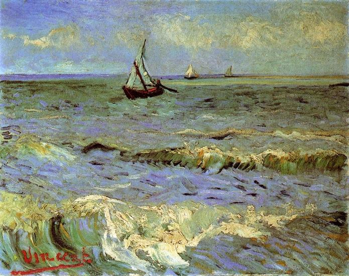 Seascape at Saintes-Maries, 1888 by Vincent Van Gogh (1853-1890, Netherlands) | Paintings Reproductions Vincent Van Gogh | WahooArt.com