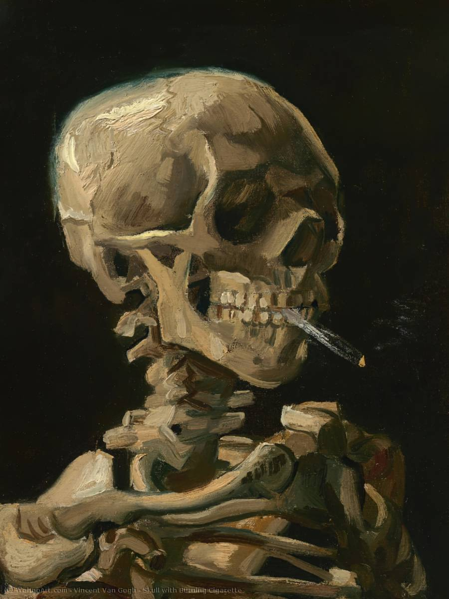 Skull with Burning Cigarette, Oil On Canvas by Vincent Van Gogh (1853-1890, Netherlands)