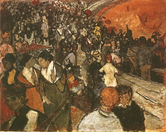 Spectators in the Arena at Arles by Vincent Van Gogh (1853-1890, Netherlands) | Paintings Reproductions Vincent Van Gogh | WahooArt.com