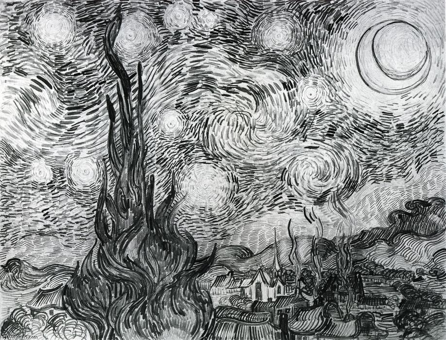 Starry Night, Ink by Vincent Van Gogh (1853-1890, Netherlands)