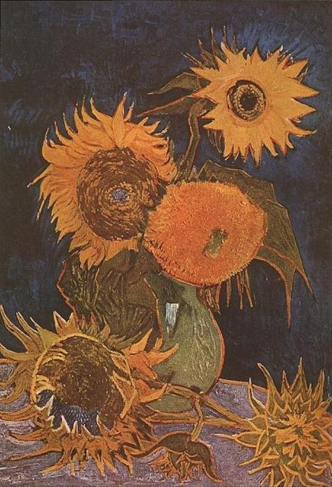 Still Life Vase With Five Sunflowers 1888 By Vincent Van Gogh 1853