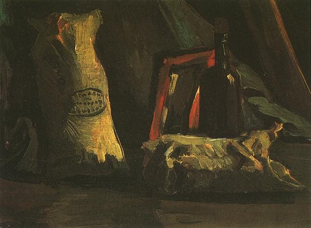 Still Life with Two Sacks and a Bottle by Vincent Van Gogh (1853-1890, Netherlands) | Famous Paintings Reproductions | WahooArt.com