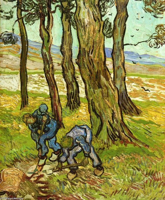 Two Diggers Among Trees, 1889 by Vincent Van Gogh (1853-1890, Netherlands) | Reproductions Vincent Van Gogh | WahooArt.com