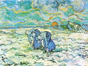 Vincent Van Gogh - Two Peasant Women Digging in Field with Snow