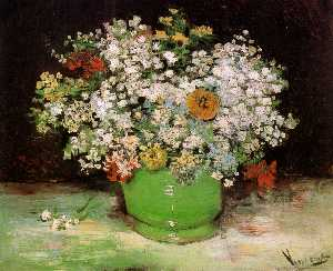 Vincent Van Gogh - Vase with Zinnias and Other Flowers