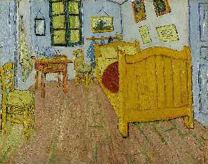 Vincent Van Gogh - Vincent's Bedroom in Arles (First version) - (oil painting reproductions)
