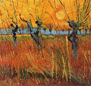 Vincent Van Gogh - Willows at Sunset - (oil painting reproductions)
