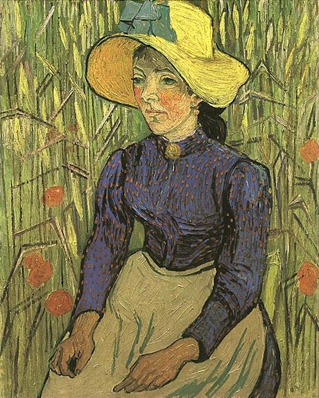 Young Peasant Woman with Straw Hat Sitting in the Wheat, 1890 by Vincent Van Gogh (1853-1890, Netherlands) | Art Reproduction | WahooArt.com