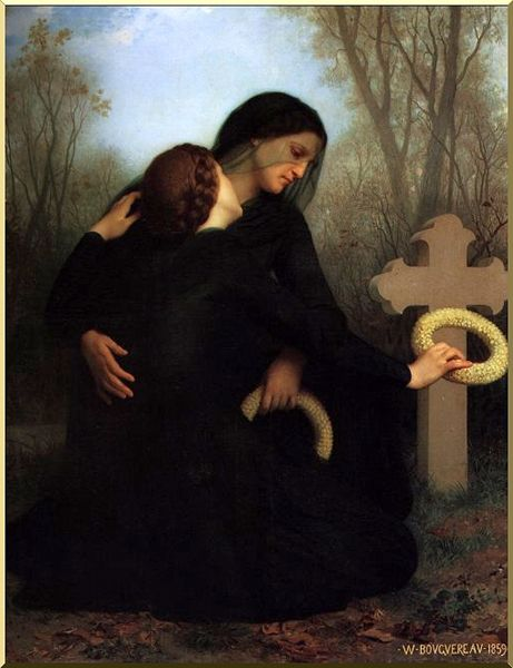 All Saint's Day, Oil by William Adolphe Bouguereau (1825-1905, France)