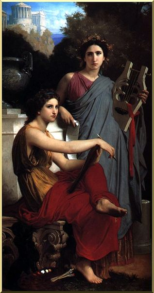 Art and Literature, Oil by William Adolphe Bouguereau (1825-1905, France)