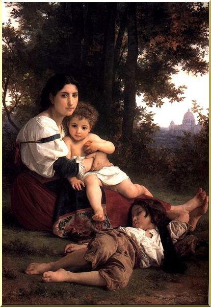 Charity, Oil by William Adolphe Bouguereau (1825-1905, France)